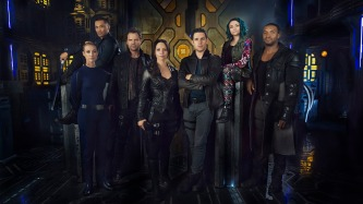 DARK MATTER -- Season:1 -- Pictured: (l-r) Zoie Palmer as The Adroid, Alex Mallari Jr. as Four, Anthony Lemke as Three, Melissa O'Neil as Two, Mark Bendavid as One, Jodelle Ferland as Five, Roger Cross as Six -- (Photo by: Dennys/Ilic/Syfy)