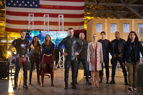 """DC's Legends of Tomorrow --""""Invasion!""""-- Image LGN207c_0418.jpg -- Pictured (L-R): Nick Zano as Nate Heywood/Steel, Maisie Richardson- Sellers as Amaya Jiwe/Vixen, Melissa Benoist as Kara/Supergirl, Stephen Amell as Oliver Queen, Dominic Purcell as Mick Rory/Heat Wave, Emily Bett Rickards as Felicity Smoak, Brandon Routh as Ray Palmer/Atom, David Ramsey as John Diggle and Carlos Valdes as Cisco Ramon -- Photo: Diyah Pera/The CW -- © 2016 The CW Network, LLC. All Rights Reserved."""